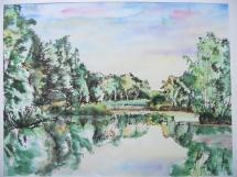 Am Großen Dobiener Teich, Aquarell/Rohrfeder, 2000, 44x33