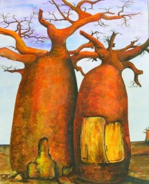 Die Seelen der Bäume - I, Acryl, 2001, 30x40