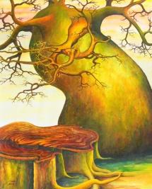 Die Seelen der Bäume - II, Acryl, 2002, 30x40