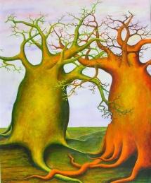Die Seelen der Bäume - IV, Acryl, 2002, 30x40