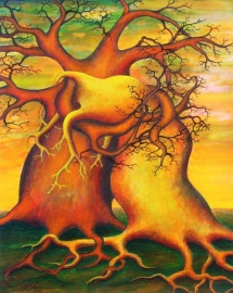 Die Seelen der Bäume - VI, Acryl, 2003, 30x40