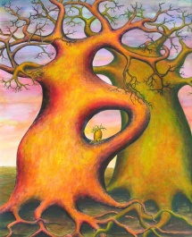 Die Seelen der Bäume - VII, Acryl, 2003, 30x40