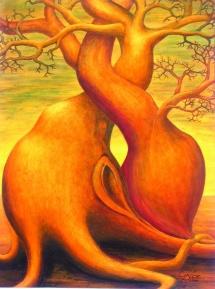 Die Seelen der Bäume - IX, Acryl, 2004, 30x40