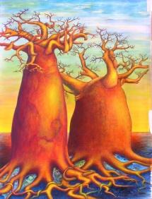 Die Seelen der Bäume - XI, Acryl, 2005, 30x40