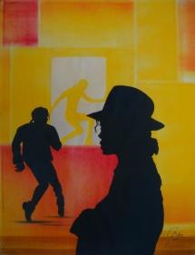 Michael Jackson - XVII, Schablonendruck, 2011, 50x65