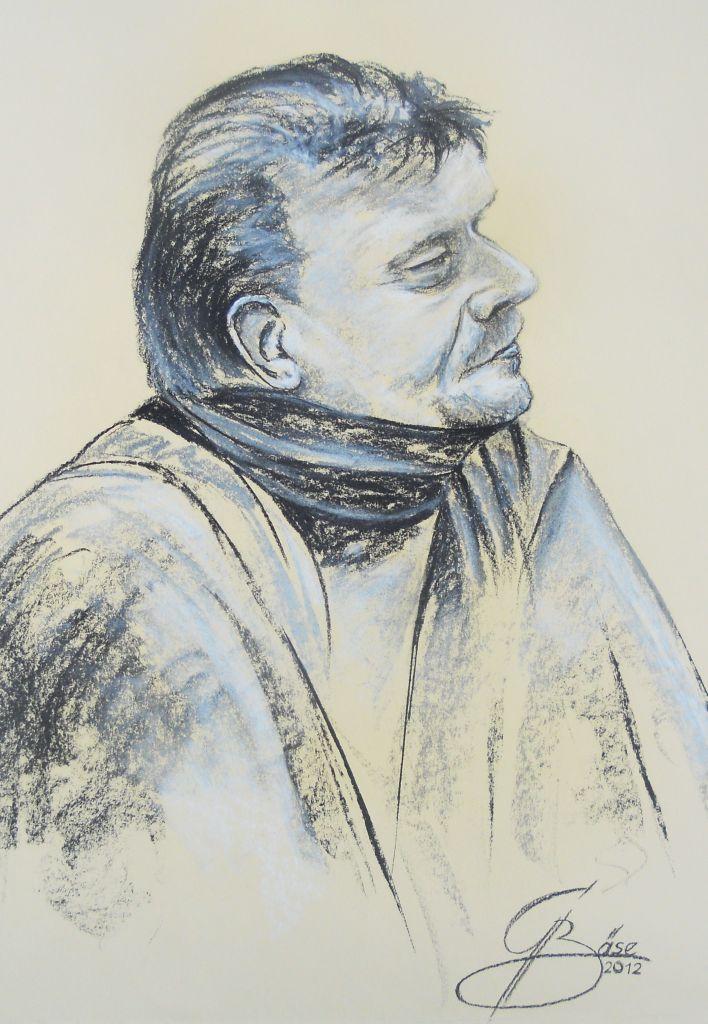 Uwe Haase, (Blues Rudy), Kohle-/Pastellzeichnung, 2012, 50x70