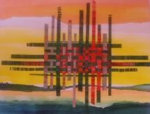Illusion am Horizont, Papiercollage, 2010, 49x39
