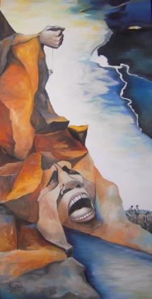 Verantwortung, Acryl auf Keilrahmen, 2011, 50x100