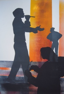 Michael Jackson - X, Schablonendruck, 2011, 51x73