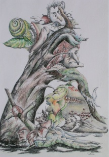 Teilnahmslos, Farbstifte, 2001, 35x50
