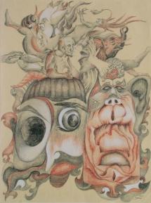 Feierabend, Farbstifte, 2001, 35x47