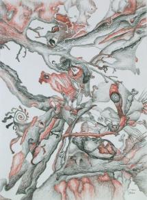 Im Geäst, Farbstifte, 2001, 30x40