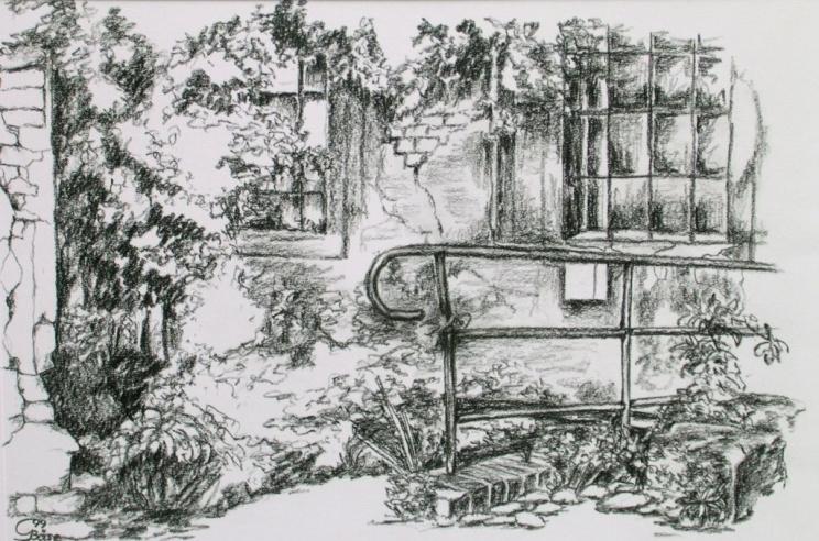 Wittenberg - Weberhof V, Kohlezeichnung, 1999, 38,5x25,5
