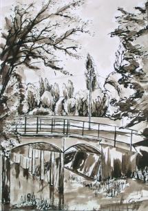 Kanalbrücke zum Großen Breitlingsee, Tuschezeichnung, 2001, 33x48