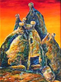 Das Gerücht, Acryl, 2003, 30x40