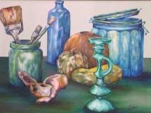 Stillleben mit Pinseln, Öl, 2000, 78x59