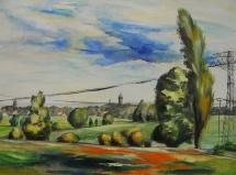 Wittenberg - Blick vom Norden, Acryl, 2009, 56x42