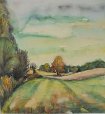 Fläminglandschaft, Aquarell, 1999, 35x38