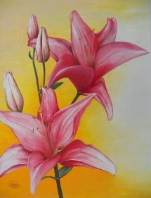 Lilien, Acryl, 2009, 36x48