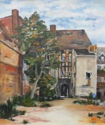 Wittenberg - Weberhaus vor der Restauration, Acryl, 2010, 47,5x57,5