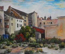 Wittenberg - Vom Weberhof zur Stadtkirche, Acryl, 2010, 58x48