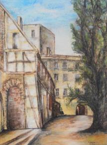 Wittenberg - Cranachhof Schloßstr. 1, Pastellzeichnung, 2002, 34x47