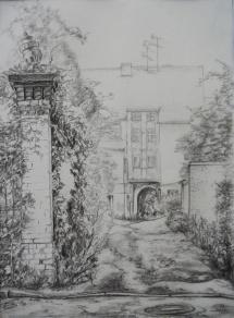 Wittenberg - Weberhof I, Grafitzeichnung, 1998, 30x41