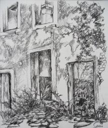 Wittenberg - Weberhof III, Kohlezeichnung, 1999, 28,5x34