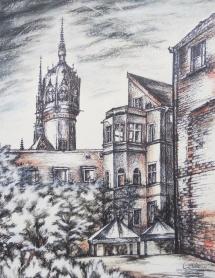 Wittenberg - Vom Weberhof zur Schloßkirche, Kreidezeichnung, 2010, 43,5x56