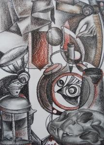 Überbleibsel, Kreidezeichnung, 1997, 38x52