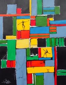 Im Rampenlicht, Mischtechnik, 2009, 39x50