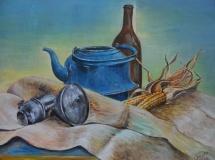 Stillleben mit blauer Kanne, Acryl, 1997, 65x48