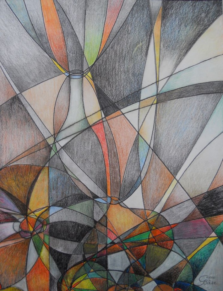 Stillleben mit Kurven, Farbstifte, 2000, 37x48