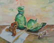 Einhalb plus Einhalb ungleich Eins, Aquarell, 1991, 48x38