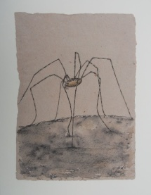 I - und ah (Weberknecht), Fineliner auf handgeschöpfter Baumwollfaser, 2002, 21x39