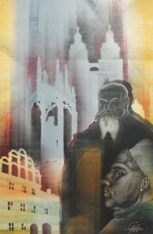 Wittenberger Reflexionen - IX, Schablonendruck und Kreidezeichnung, 2010, 48x73