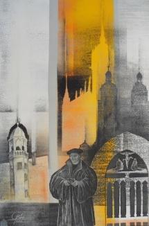 Wittenberger Reflexionen - IV, Schablonendruck und Kreidezeichnung, 2010, 48x73