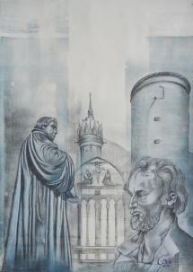 Wittenberger Reflexionen - XVIII, Schablonendruck und Kreidezeichnung, 2011,