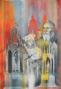 Wittenberger Reflexionen - XVII, Schablonendruck und Kreidezeichnung, 2011, 51x73