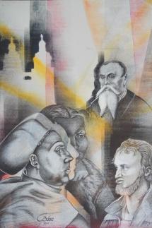 Wittenberger Reflexionen - XVI, Schablonendruck und Kreidezeichnung, 2011, 50x75