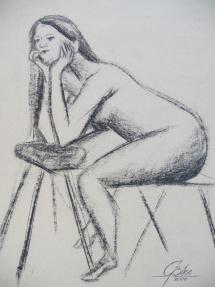 Weiblicher Akt - III, Kohlezeichnung, 2008, 50x65