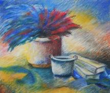 Stillleben mit Trockenstrauß, Pastellkreide, 1998, 60x50