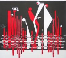 Auseinandersetzung, Papiercollage, 2011, 54x46