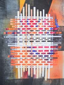 Grenzzaun, Papiercollage, 2011, 50x64
