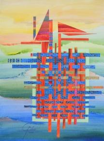 Ballonkorb, Papiercollage, 2010, 39,5x53,5