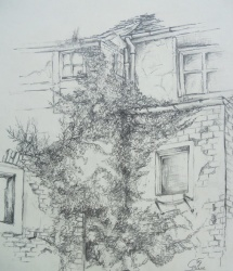 Wittenberg -Weberhof II, Grafitzeichnung, 1999, 36x42