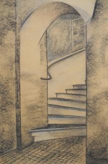 Wittenberg - Schloßstr. 1, Kohlezeichnung, 1998, 40x60