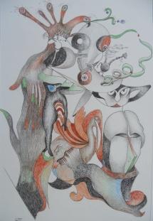 Lose Beziehung, Farbstifte, 2001, 29x43
