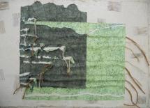Bedrohte Landschaft, Papiercollage, 2001, 94x64