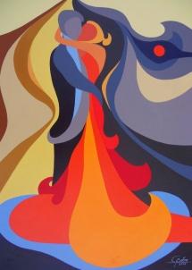 Der Kuss, Acryl, 2008, 30x40